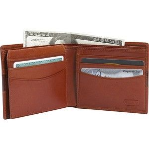 Leatherbay Double Fold Mens Leather Wallet w Croc Design Cognac