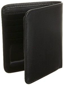 Leatherbay Double Fold Mens Leather Wallet Black