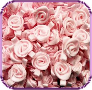 Mini Satin Ribbon Roses with Satin Leaves Choose Your Colour and Pack