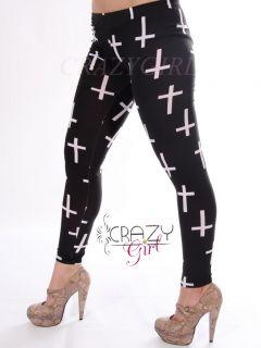Cross Logo Symbol Sign Print Full Length Leggings Size 8 18