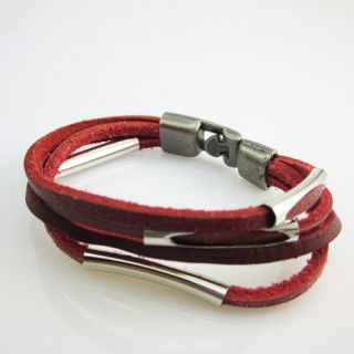 Multi Storey Cool Men Hand Woven Leather Bracelet Red Fashion Jewelry