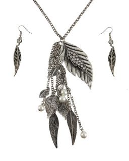 Silvertone Leaf Fashion Necklace and Earrings Set