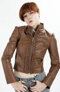 Womens New Ruffle Front Lambskin Leather Scuba Jacket s M L XL