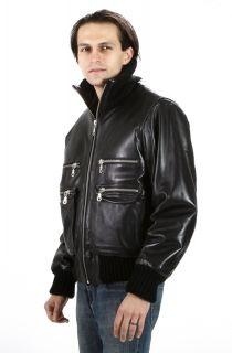 New Silver Zippered Black Urban Lambskin Leather Bomber Jacket
