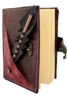 Section on A Medium Leather Bound Journal Notebook Diary MO145