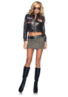 Top Gun Womens Faux Leather Bomber Jacket Skirt Costume Set Adult New