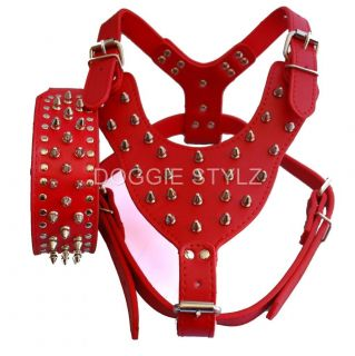 Pink Leather Dog Harness Collar Set Spike Studs Pit Bull Terrier
