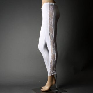 White Opaque Lace Side Stretch Footless Pants Leggings Size M