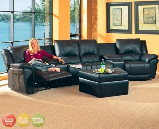 Contemporary Reclining Black Leather Sectional Sofa / Theater Seating