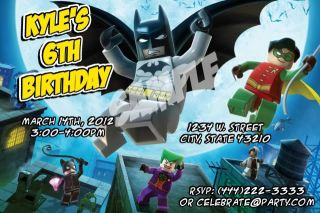 Lego Batman Custom Personalized Birthday Party Invitations