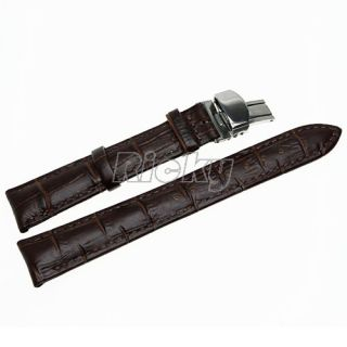 Grain Leather Butterfly Deployment Clasp Watch Band Strap Brown