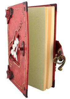 Heart 2 on A Large Red Leather Bound Journal Notebook Diary