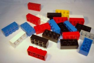 Lego   2x4 Brick   Red, Blue, Black, White, Light Grey, Yellow   Lot