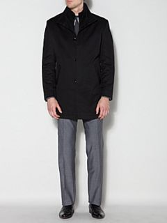 Kenneth Cole Boston Funnel Neck Mac With Zip Black