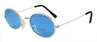 Goth Vampire Blue Lens Gold Hippie Sun Glasses 666