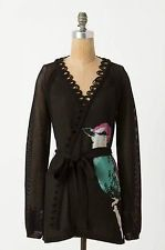 Anthropologie Leifsdottir Bird Corvida Song Sweater Cardigan Black