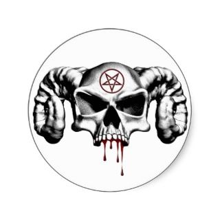 Devil Half Skull Round Stickers