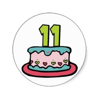 11 Year Old Birthday Cake Stickers