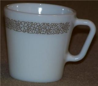 Set of 4 Pyrex Woodland Brown Cups Mugs Milk Glass Corelle