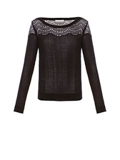 Kookai Scalloped lace sweater Grey