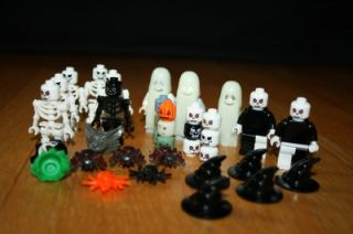Lego Halloween Minifig Lot Skeletons Ghost Costumes Spiders Witch Hats