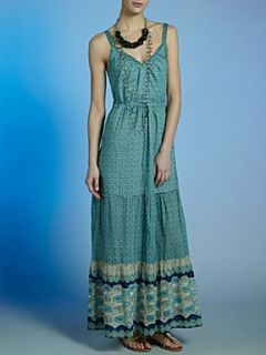 Oui Silk mix printed maxi dress Light Green