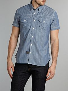 Duck and Cover Short sleeved dot chambray shirt Light Blue   House of Fraser