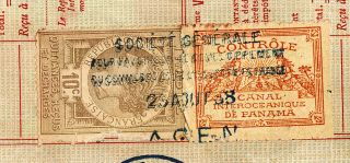 Canal Bond DD 1888 Ferd de Lesseps with 2 Tax Revenue Stamp