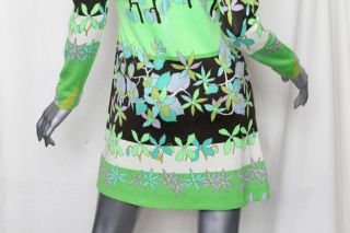 LEONARD PARIS FASHION Bright*VINTAGE!* A Line Floral Knit Sweater Mini