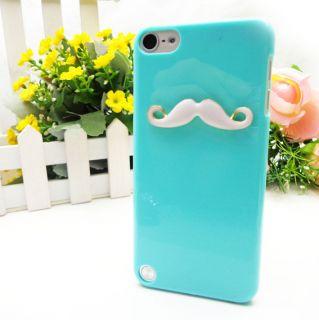 LEON Sexy Chaplin 3D Wihte Mustache Case Blue Cover For Apple iPod