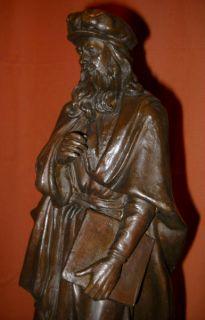 Original Leonardo Da Vinci at Uffizi Bronze Statue Sculpture Italian