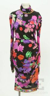 Leonard Paris Multicolor Silk Floral Print Long Sleeve Ruched Dress