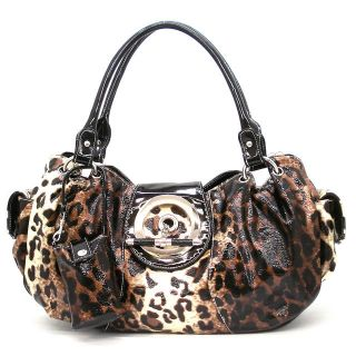 Leopard Print Sophia Shoulder Bag Hobo Satchel Tote Purse Handbag M