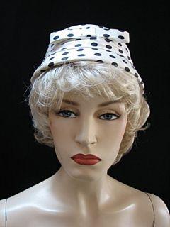 Vintage Hat White w Blue Polka Dots Adorable 1458