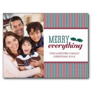 Herringbone Merry Everything Christmas Postcard