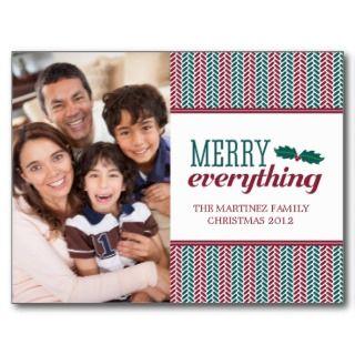 Herringbone Merry Everything Christmas Postcard