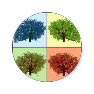 Four Seasons Oaks Round Stickers