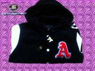 Brand New Ladies Varsity Baseball Letterman Like Jacket Sweater Hood