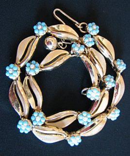 Vintage Choker Necklace Faux Turquoise Pearl Trifari