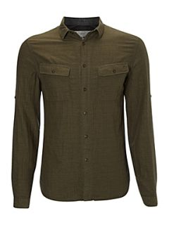 Label Lab Double layer herringbone long sleeve shirt Khaki