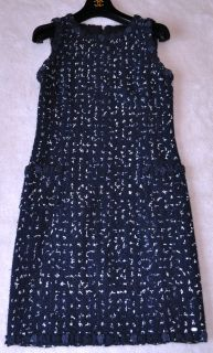 Chanel 11C $4K Navy Camellia Lesage Tweed Suit Dress 38 New