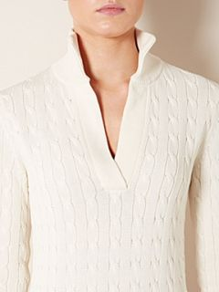 Lauren by Ralph Lauren Long sleeve v neck cable knit jumper with collar Cream