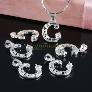 Alphabet Letter Silver Plated Hollow Pendant Charm for Necklace