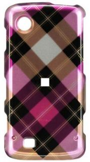 PINK PLAID HARD CASE COVER FOR VERIZON LG CHOCOLATE TOUCH VX8575 PHONE