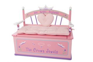 Levels of Discovery Her Royal Highness Girls Pink Toy Box Chest Bench