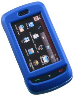 Blue Rubberized Hard Case Cover for at T LG Xenon GR500 Phone
