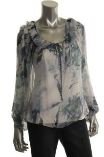 New Leslie Navy Silk Chiffon Sheer Lined 2pc Blouse Top Shirt M