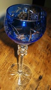 Bohemian Moser Cut to Clear Cobalt Blue Crystal Wine Glass