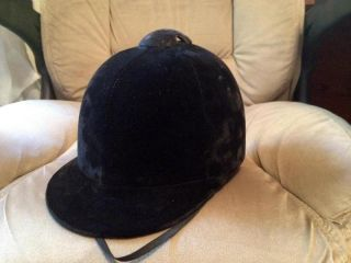 Libertyville Saddle Shop Black Velvet Horse Riding Helmet Hat Size 6 7