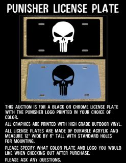 Punisher Custom Black or Chrome License Plate Any Color